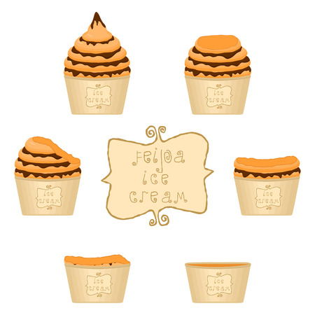 Vector illustration for natural feijoa ice cream on paper cup. Ice Cream pattern consisting of sweet cold icecream, set tasty frozen dessert. Fresh fruit icecreams of feijoa in paper bowls.