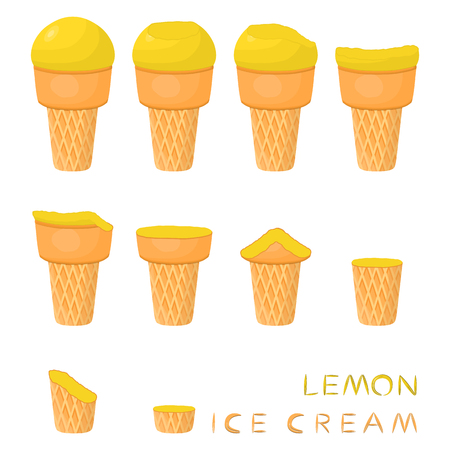 Vector illustration for natural lemon ice cream on waffle cone. Ice Cream pattern consisting of sweet cold icecream, tasty frozen dessert. Fresh fruit icecreams of lemon in wafer cones.