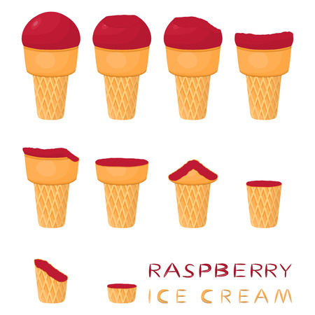 Vector illustration for natural raspberry ice cream on waffle cone. Ice Cream pattern consisting of sweet cold icecream, tasty frozen dessert. Fresh fruit icecreams of raspberry in wafer cones.