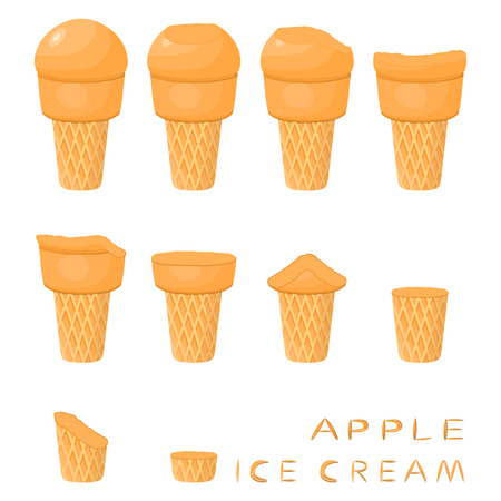 Vector illustration for natural apple ice cream on waffle cone. Ice Cream pattern consisting of sweet cold icecream, tasty frozen dessert. Fresh fruit icecreams of apple in wafer cones.
