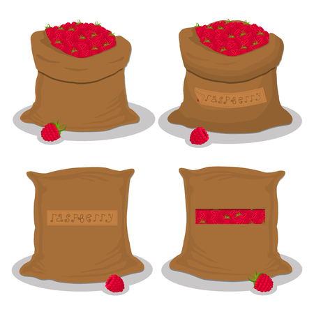Vector illustration logo for bags filled with berry red raspberry, storage in sacks. Raspberry pattern consisting of ripe food, raw product on open Sack. Tasty raspberry from eco sack, full baggy bag
