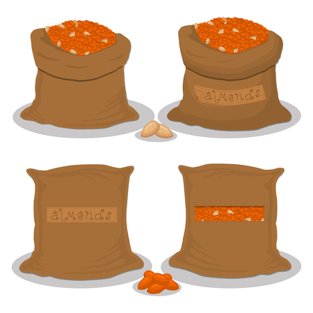 Vector illustration logo for bags filled with nuts brown almond, storage in sacks. Almond pattern consisting of ripe food, raw product on open Sack. Tasty fruit almond from eco sack, full baggy bag.