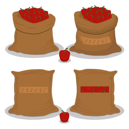 Vector illustration for bags filled with vegetable red pepper, storage in sacks. Pepper pattern consisting of ripe food, raw product on open Sack. Tasty fruit pepper from eco sack, full baggy bag