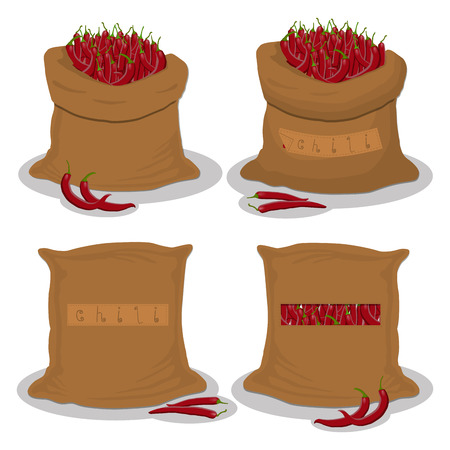 Vector illustration for bags filled with vegetable red hot chili pepper, storage in sacks. Chili pattern consisting of ripe food, raw product on open Sack. Tasty pepper chili from eco sack, full bag.