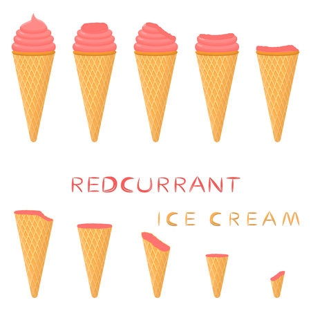 Vector illustration for natural red currant ice cream on waffle cone. Ice Cream pattern consisting of sweet cold icecream, tasty frozen dessert. Fresh fruit icecreams of currant in wafer cones.