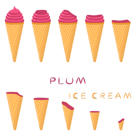 Vector illustration for natural plum ice cream on waffle cone. Ice Cream pattern consisting of sweet cold icecream, tasty frozen dessert. Fresh fruit icecreams of plum in wafer cones.