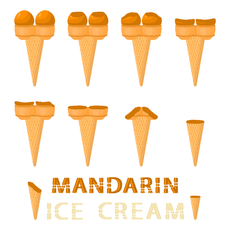 Vector illustration for natural mandarin ice cream on waffle cone. Ice Cream pattern consisting of sweet cold icecream, tasty frozen dessert. Fresh fruit icecreams of mandarin in wafer cones.