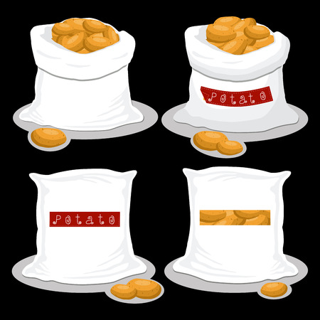 Vector illustration for bags filled with vegetable brown potato, storage in sacks. Potato pattern consisting of ripe food, raw product on open Sack. Tasty fruit potato from eco sack, full baggy bag.