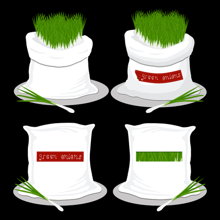 Vector illustration for bags filled with vegetable young green onion, storage in sacks. Onion pattern consisting of ripe food, raw product on open Sack. Tasty fruit onion from eco sack,full baggy bag