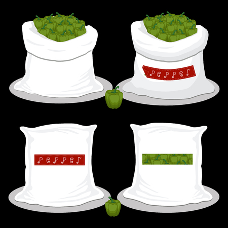 Vector illustration for bags filled with vegetable green pepper, storage in sacks. Pepper pattern consisting of ripe food, raw product on open Sack. Tasty fruit pepper from eco sack, full baggy bag
