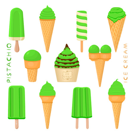 Vector illustration for natural pistachio ice cream on stick, in paper bowls, wafer cones. Ice Cream consisting of sweet cold icecream lolly, set tasty frozen dessert. Fruit icecreams from pistachio Vectores