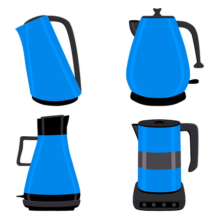 Vector illustration for set of colored electric teapots, kettles on stand. Teapot pattern consisting of iron electric kettle with handle, spout for draining liquid. Tea from kettle, coffee in teapot. Vektoros illusztráció
