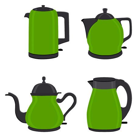 Illustration vectorielle pour ensemble de théières électriques colorées, bouilloires sur support. Modèle de théière composé d'une bouilloire électrique en fer avec poignée, bec verseur pour vidanger le liquide. Thé de la bouilloire, café dans la théière.