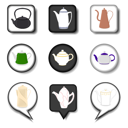 Vector illustration for set of colored ceramic teapot, kettle in icons. Teapot pattern consisting of glass hot kettle with handle, lid, spout for draining liquid. Tea from kettle, coffee in teapot.  イラスト・ベクター素材