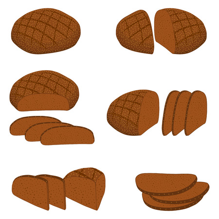 Vector illustration of set of baked bread, dark rye brick, soft baguette for bakery. Bread consisting of bakery natural tasty wheat food in sliced toasts. Bakery fresh cereal bread with various sorts