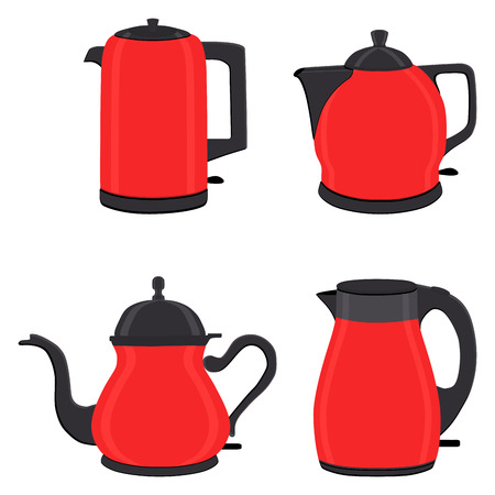 Vector illustration for set of colored electric teapots, kettles on stand. Teapot pattern consisting of iron electric kettle with handle, spout for draining liquid. Tea from kettle, coffee in teapot. Illustration