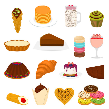 Logotipo de ilustración de icono de vector para postres dulces de gran conjunto en plato, comida en vajilla de vidrio transparente de bayas. Patrón de postre que consiste en comida sabrosa natural. Come postre de fruta dulce fresca.