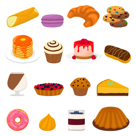 Vector icon illustration logo for big set sweet desserts on plate, meal in transparent glass crockery from berries. Dessert pattern consisting of natural tasty food. Eat fresh sweet fruit dessert. Stock fotó - 109905644