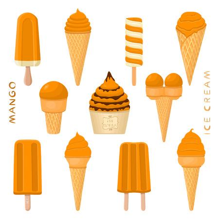 Vektorillustration für natürliches Mango-Eis am Stiel, in Papierschalen, Waffelkegel. Eiscreme bestehend aus süßem kaltem Eislutscher, leckeres gefrorenes Dessert. Fruchteis aus Mango