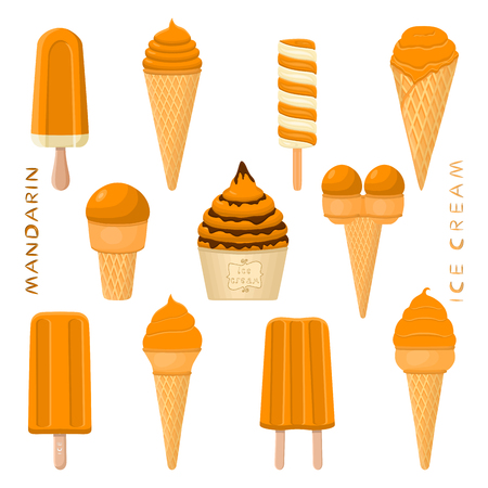 Vector illustration for natural mandarin ice cream on stick, in paper bowls, wafer cones. Ice Cream consisting of sweet cold icecream lolly, set tasty frozen dessert. Fruit icecreams from mandarin Stock Vector - 109906358