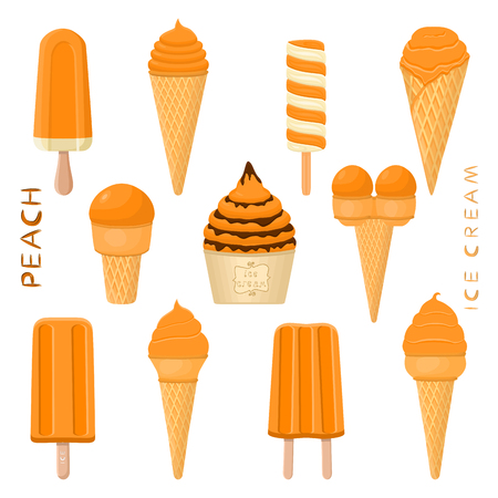Vector illustration for natural peach ice cream on stick, in paper bowls, wafer cones. Ice Cream consisting of sweet cold icecream lolly, set tasty frozen dessert. Fruit icecreams from peach