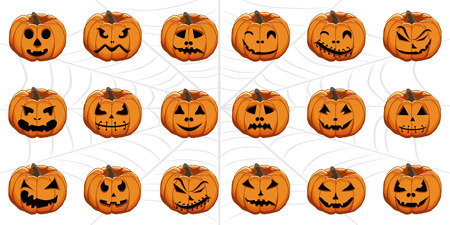 Vector illustration set from pumpkins for celebrating holiday halloween. Halloween pattern consisting of funny smile pumpkin on cobweb background. Pumpkin face is the main symbol on party halloween. Vetores