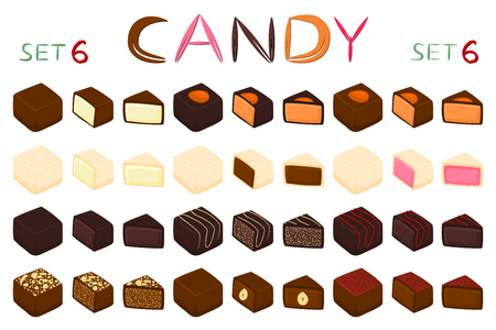 Beautiful big set of colorful chocolate desserts from candies. Candy consisting of milk chocolate covered sweet stuffed nougat. Chocolate candy collection of different shapes and kinds out tasty food Illustration