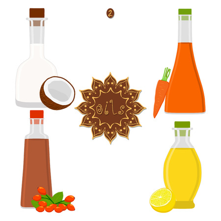 Vector illustration for set various bottles oil, plastic jar with cap. Oil pattern consisting of container natural organic liquid, glass flask in cosmetics cream drop. Fruit oil for health in bottle. Çizim