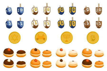 Vector illustration for Hanukkah is big Jewish holiday. Hanukkah pattern consisting of star of David, sufganiyot doughnuts, decoration menorah, clay jug with oil. Happy celebration of jewish hanukkah Illusztráció