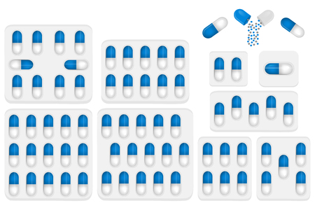 Illustration on theme big colored set different types of pills inside close blister. Pill pattern consisting of collection blisters with quality control. Plastic blister from remedy pill paracetamol.