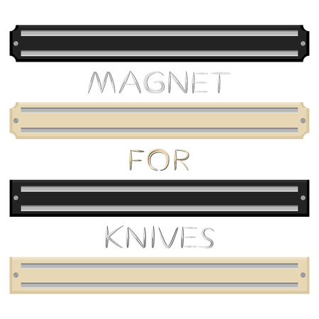 Illustration on theme big colored set different types magnets different size for knives. Magnet pattern consisting of collection accessory to knives in kitchen. Magnet with kitchen knives for meal. Ilustração Vetorial