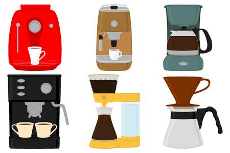Ilustración sobre el tema color grande establece diferentes tipos de máquinas de café, fabricantes de diferentes tamaños. Patrón de máquina de café compuesto por accesorio de colección a máquina. Maker, cafetera para café recién hecho.