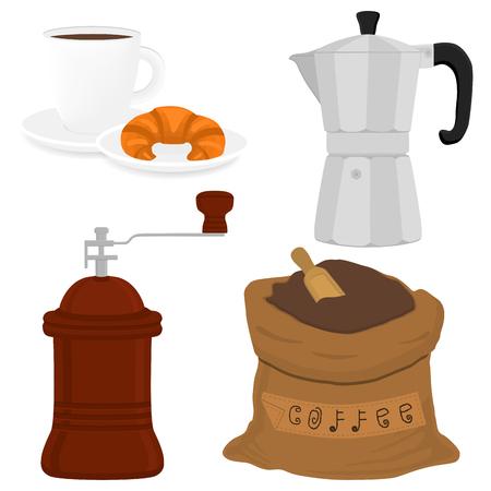 Icona dell'illustrazione sul tema grande set colorato diversi tipi di bollitore per bollitore, mulini con logo di nuova dimensione. Modello mulino composto da accessorio di raccolta per bollitori maker. Macinacaffè per caffè fresco in bollitore.