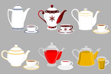 Ilustración sobre el tema color grande establece diferentes tipos de teteras, hervidores de diferentes tamaños. Patrón de tetera que consta de accesorio de colección para hervidor en cocina. Hervidor con tetera de cocina para té fresco