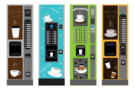 Illustratiepictogram op thema grote gekleurde set verschillende soorten koffiemachine, nieuwe maat logo-verkoop. Koffiepatroon bestaande uit opvangaccessoire tot automaat. Automaat voor verse koffie