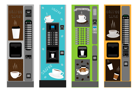 Illustration icon on theme big colored set different types coffee machine, new size logo vending. Coffee pattern consisting of collection accessory to vending machine. Vending machine for fresh coffee