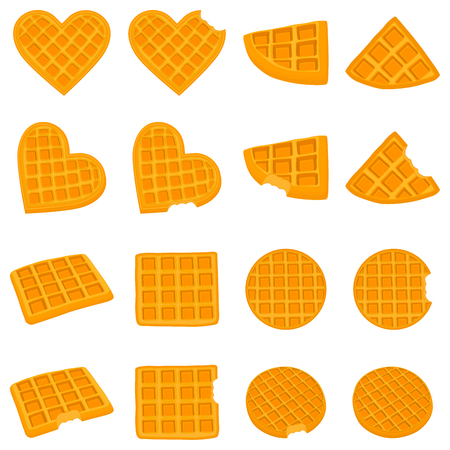 Vector icon illustration logo for set various sweet waffles. Waffle pattern consisting of slice different dessert confectionery, wafer with chocolate. Eat tasty patisserie waffle covered in chocolates