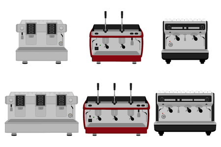 Illustration on theme big colored set different types coffee machine, different size makers. Coffee machine pattern consisting of collection accessory to maker. Maker, coffee machine for fresh coffee. Vettoriali