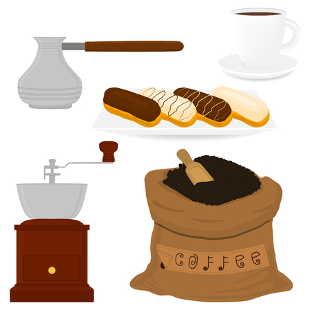 Illustration icon on theme big colored set different types maker sack, new size logo mills. Mill pattern consisting of collection accessory to maker sacks. Maker mill for fresh coffee in sack, cezve.  イラスト・ベクター素材