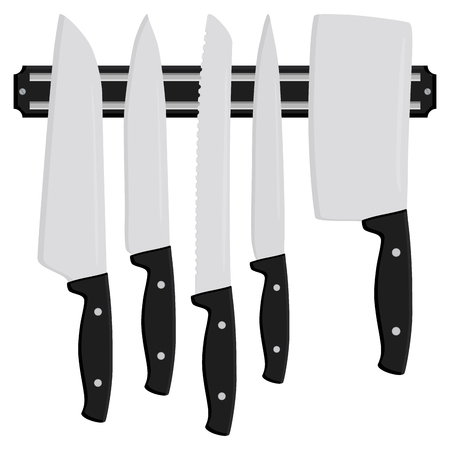 Illustration on theme big colored set different types knives different size for butcher. Knife pattern consisting of collection accessory to butcher in kitchen. Butcher with kitchen knives for meal.