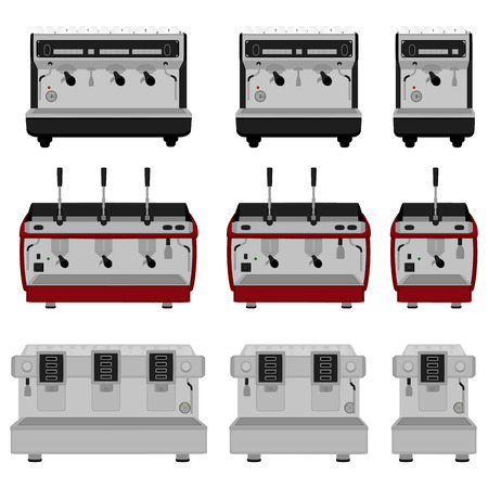 Illustration on theme big colored set different types coffee machine, different size makers. Coffee machine pattern consisting of collection accessory to maker. Maker, coffee machine for fresh coffee. 向量圖像