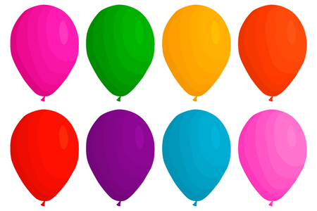Illustration on theme big colored set different types inflatable rubber balloons, various size baloons. Balloon consisting of collection accessory baloon to celebrate holiday. Baloon ball as balloon. Vector Illustration