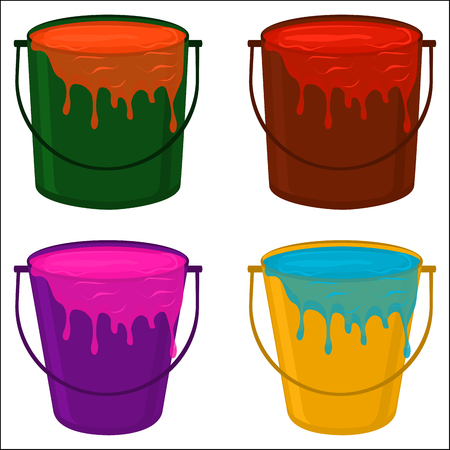 Illustration on theme big colored set different types plastic buckets, various size pails paint. Bucket consisting of collection accessory to paint from pail at wall. Pail by paint as bucket for water