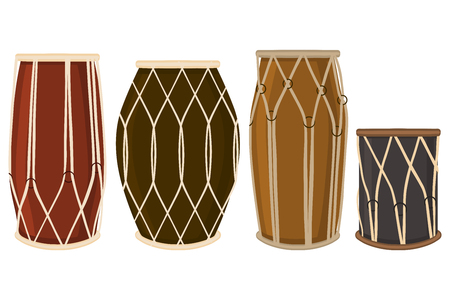 Illustration on theme big colored set different types audio drums, tambour various size. Drum pattern consisting of collection accessory tambour orchestra. Tambour skin as drum for celebrate holiday.