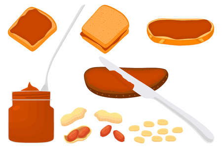 Illustration on theme big colored set different types peanut butter, bread various size. Peanut butter pattern consisting of collection accessory beautiful good meal bread. Yummy bread peanut butter.