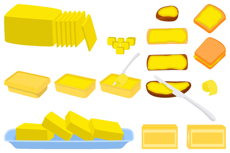 Illustration on theme big colored set different types creamy butter, dairy oil various size. Creamy butter pattern consisting of collection accessory meal dairy oil. Dairy oil from yummy creamy butter