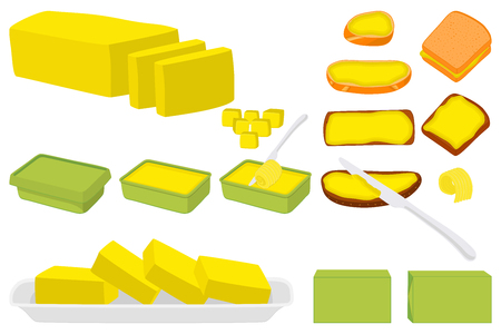 Illustration on theme big colored set different types creamy butter, dairy oil various size. Creamy butter pattern consisting of collection accessory meal dairy oil. Dairy oil from yummy creamy butter Vettoriali