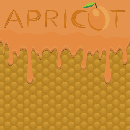 Illustration on theme falling runny apricot drip at sugary waffle cookie. Apricot pattern of drip meal for organic healthy waffle cookies. Drip apricot in exclusive menu gourmet is waffle cookie.