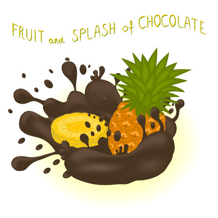 Illustration on theme falling runny pineapple drip at sugary chocolate. Pineapple pattern of collection drip meal for organic healthy milk chocolate. Drip pineapple in exclusive milk chocolate drink.