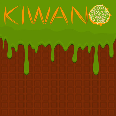 Illustration on theme falling runny kiwano drip at sugary waffle cookie. Kiwano pattern consisting of drip nice meal for organic waffle cookies. Drip kiwano in exclusive menu gourmet is waffle cookie
